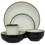 Sango Nova Black Stoneware Dinnerware With Dishwasher Safe. 40 Piece Set