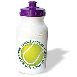 Houk Digital Design Sports - Tennis - I Live To Play Tennis - text around tennis ball - Water Bottles