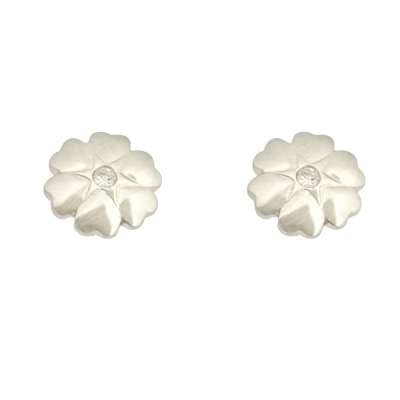New Fine Jewelry Stud Earrings 925 Sterling Silver Hearts Forming Flower with Center CZ(WoW !With Purchase Over $50 Receive A Marcrame Bracelet Free)