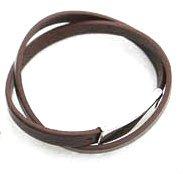 Mens Dark Brown Leather Bracelet With Stainless Steel Clasp 40cm + Black Stud Earrings Gift by Vivian
