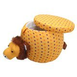 Pullo'man Children's Storage Ottoman, Omar The Lion, Bright Yellow with Polka Dots