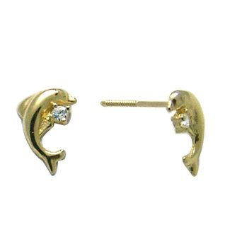 14K Yellow DOLPHIN BABY SCREW Earring (white)