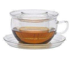 Trendglas Jena Tea Time II Tazza in vetro con colino in vetro