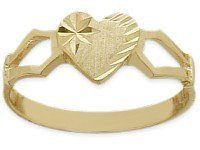 10 Karat Yellow Gold Diamond Heart Baby Ring