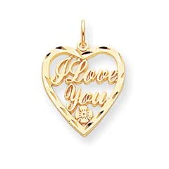 10k I LOVE YOU HEART CHARM - JewelryWeb