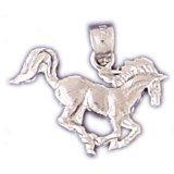 CleverEve 14K Yellow Gold Animal Kingdom Running Horse Pendant 1.5 Grams