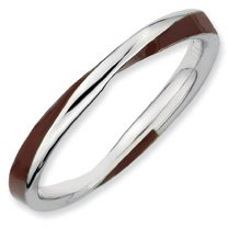 Timeless Silver Twisted Brown Enamel Stackable Band. Sizes 5-10 Available