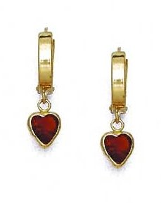 14ct Yellow Gold 6 mm Heart Red CZ Drop Hinged Earrings