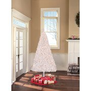 Prelit Art Christmas Trees - Holiday Time Pre-lit 6.5' Madison Pine White Artificial Tree, Clear Lights