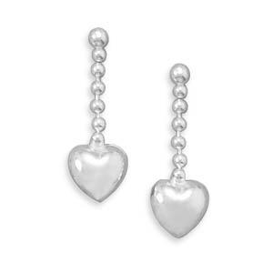 Bead Chain with Puffed Heart Post Earrings