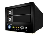 Icy Box IB-NAS 6220 Serveur Multimédia pour 2 Disque Dur 3.5'' SATA Interface Ethernet/2 USB 2.0/1 USB 2.0 (OTB) Noir