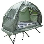 Outsunny Compact Portable Pop-Up Tent/Camping Cot with Air Mattress and Sleeping Bag