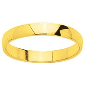 So Chic Jewels - 18k Yellow Gold 3 mm Semi-Rounded Classic Wedding Band Ring