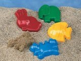 Small World Sand & Water Toys Animal Molds 4 Piece Set (Assorted Colors)