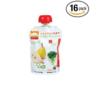 HAPPYBABY Organic Baby Food, Stage 2, Broccoli, Peas & Pear, 3.5-Ounce Pouches (Pack of 16)