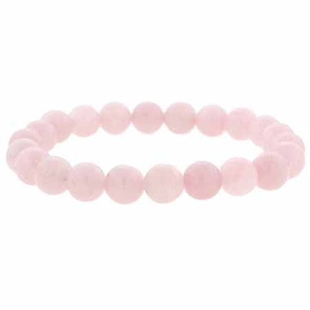 Genuine Rose Quartz Stone 8mm Bead Beaded Stretch Bracelet