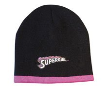 Supergirl Black Beanie Knit Steep Hat (youth size)