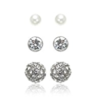 M&S Collection Pearl Effect Snowman Diamanté Stud Trio Earrings Set