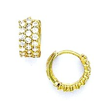 14ct Yellow Gold 2 mm Round CZ Petite Hinged Earrings