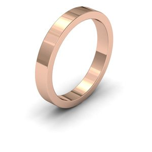 9ct Rose Gold, 3mm Wide, Flat Shape Heavy Weight Wedding Ring