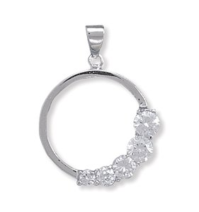 Rhodium Plated Graduated CZ Circle Pendant
