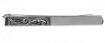 Half Engraved Rhodium Plate Tie Slide