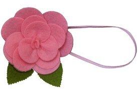 Baby Flower Headband. Stretchy for Infant, Toddler, Girl. Skinny Headband. Felt Rose Allie Pink.