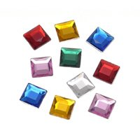 Darice 12 X 12mm Square Rhinestone - 52 Pc/multi Color
