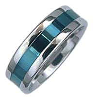 High Polished Stainless Steel Ring With Blue Inlay in Center