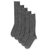 5 Pairs of Cotton Rich Knee High Heart Socks