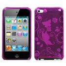 Flexi Soft Gel Skin Case for Apple iPod Touch 4th Generation - Butterfly/Flowers Print (HOT PINK)
