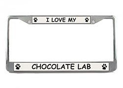 Chocolate Lab License Plate Frame (Chrome) 5 Year Warranty