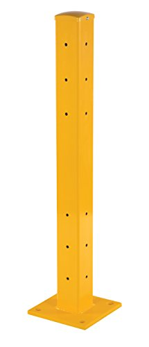"Vestil YGR-TP42 Steel Structural Guard Rigid Rail Post, Bolt on Style, 9.88"" Length, 9.88"" Width, 43.16"" Height, Yellow"