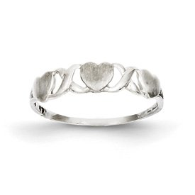 Genuine IceCarats Designer Jewelry Gift 14K White Gold Triple Heart Ring Size 7.00