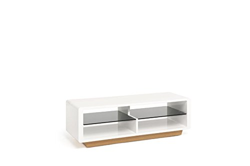 TECHLINK Ovue TV Stand with High Gloss Brilliant Light Oak Veneer with Smoked Glass Shelves for Screens Up to 55-Inch, White