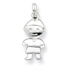 Sterling Silver Polished Movable Boy Charm - JewelryWeb