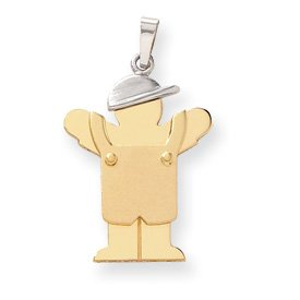 14k Two-Tone Large Boy with Hat on Left Engraveable Charm - JewelryWeb