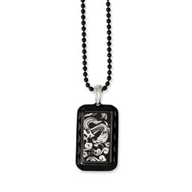 Stainless Steel Black Plated Dragon Dog Tag Necklace 20″ Men's Jewelry