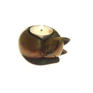 Fair Trade Wooden Cat Tealight / Candle Holder