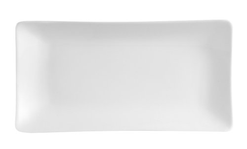 CAC China SHA-13 Sushia 12-Inch by 6-1/4-Inch Super White Porcelain Rectangular Platter, Box of 12