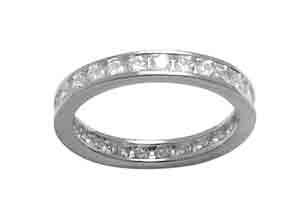 Size 6 Eternity Channel Set Cubic Zirconia Band 14k White Gold Ring