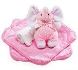 Plush Pink Elephant Rattle and Washcloths Gift Set