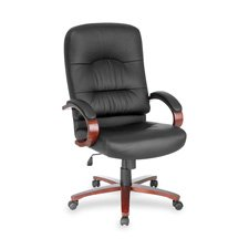 Lorell Hi-Back Executive Chair, 26-1/2 by 30 by 46-1/4-Inch, Black Leather