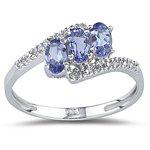 0.05 Ct Diamond & 0.68 Ct Tanzanite Ring in 14K White Gold-7