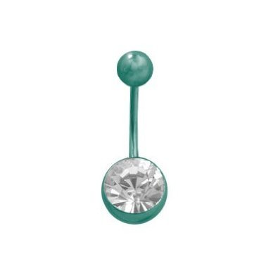 Green Titanium Belly Button Ring with Clear Jewel