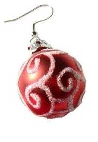 Christmas Earrings Swirl Ornament (Red)
