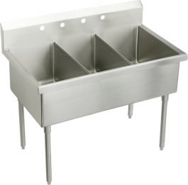 Elkay WNSF8354OF4 Weldbilt Kitchen Sink Lustrous Satin Stainless Steel Floor 4 OF