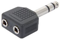 ADAPTER / TWIN STEREO 3.5MM JACK TO STEREO 6.3MM JACK