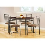 Mainstays 5-Piece Wood and Metal Dining Set, Espresso thumbnail