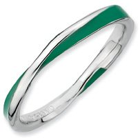 Glad Day Silver Twisted Green Enamel Stackable Ring. Sizes 5-10